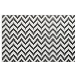Black Zigzag Ikat & Custom White Background Fabric