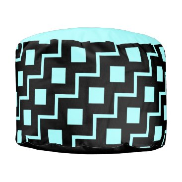 Aztec Themed Black ZigZag on Aqua, bold pattern! Pouf