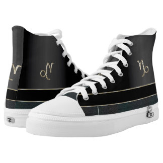 Black Zodiac Sign Capricorn High Tops Printed Shoes