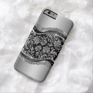 BlackAnd Metallic Silver Floral Damasks Barely There iPhone 6 Case