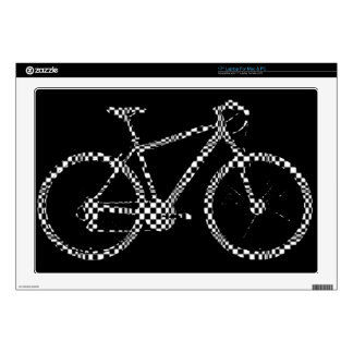 "blackandwhite checked bike decals for 17"" laptops"