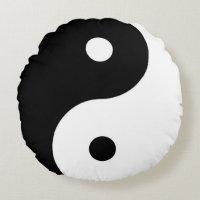 blackandwhite zen yin-yang symbol round pillow