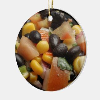 Blackbean and Corn Salad Ceramic Ornament