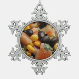 Blackbean and Corn Salad Snowflake Pewter Christmas Ornament