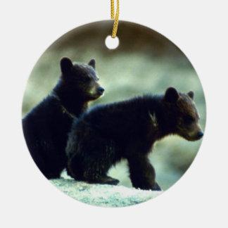 Blackbear cubs Double-Sided ceramic round christmas ornament