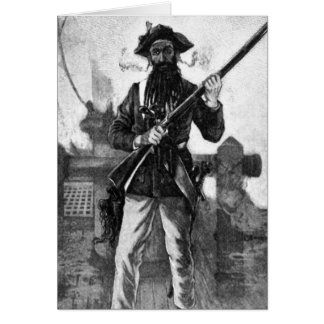 Blackbeard at attention with rifle card
