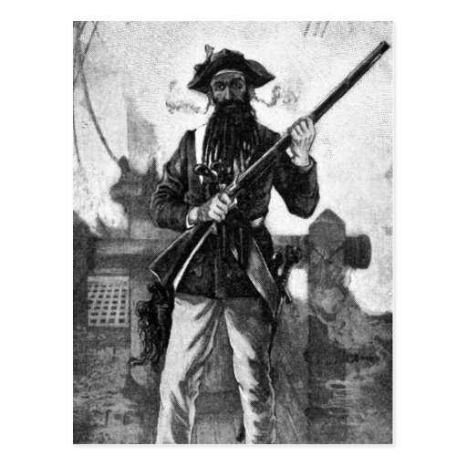 Blackbeard at attention with rifle post cards