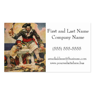 Blackbeard Buccaneer Pirate and Mate Illustration Business Cards