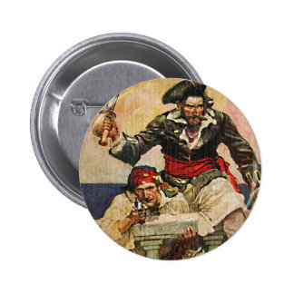 Blackbeard Buccaneer Pirate and Mate Illustration Button
