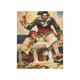 Blackbeard Buccaneer Pirate and Mate Illustration Stretched Canvas Prints