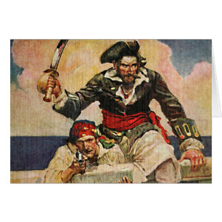 Blackbeard Buccaneer Pirate and Mate Illustration Card