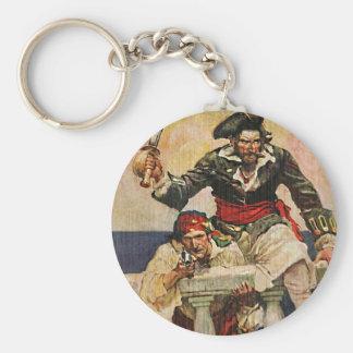 Blackbeard Buccaneer Pirate and Mate Illustration Keychain