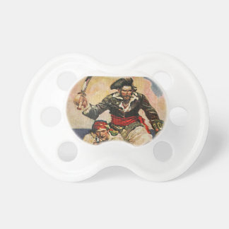 Blackbeard Buccaneer Pirate and Mate Illustration Pacifier