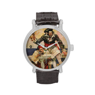 Blackbeard Buccaneer Pirate and Mate Illustration Watches