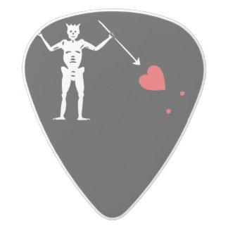 Blackbeard Edward Teach Pirate Flag White Delrin Guitar Pick