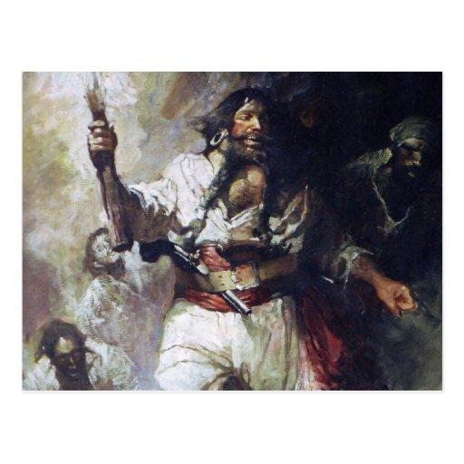 Blackbeard in Smoke and Flames Postcard