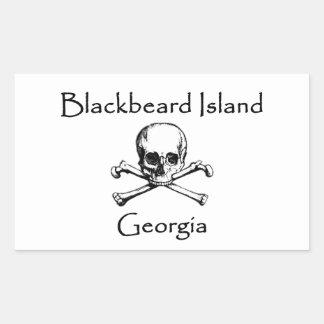 Blackbeard Island Georgia Jolly Roger Rectangular Sticker
