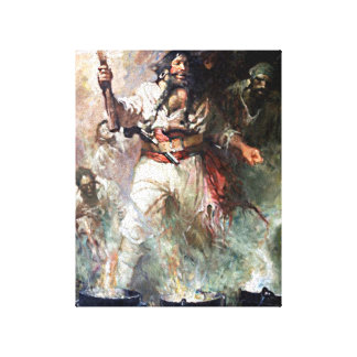 Blackbeard on Fire Pirate Illustration Canvas Print