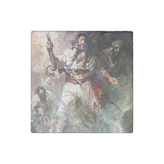 Blackbeard on Fire Pirate Illustration Stone Magnet