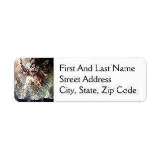 Blackbeard on Fire Pirate Illustration Custom Return Address Labels