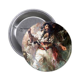 Blackbeard on Fire Pirate Illustration Pinback Button