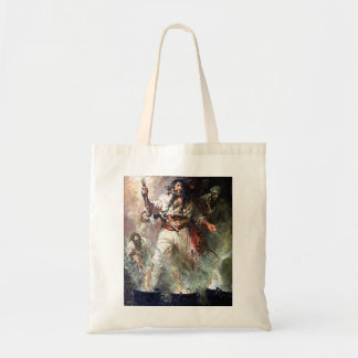 Blackbeard on Fire Pirate Illustration Tote Bag