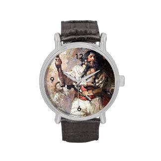 Blackbeard on Fire Pirate Illustration Wristwatches