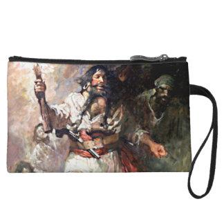 Blackbeard on Fire Pirate Illustration Wristlet Wallet