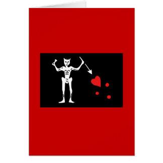 Blackbeard Pirate FLag Greeting Card