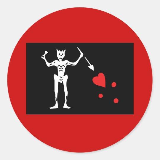 Blackbeard Pirate FLag Classic Round Sticker