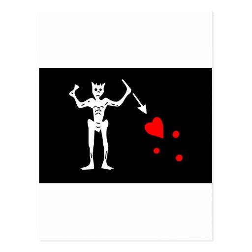 Blackbeard Pirate Flag Edward Teach Post Cards