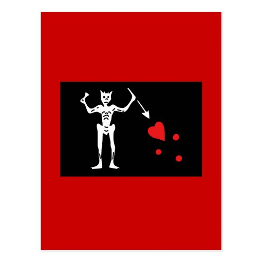 Blackbeard Pirate FLag Postcard