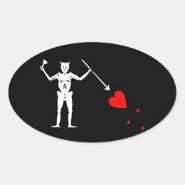 Blackbeard Pirate Sigil Oval Sticker #1