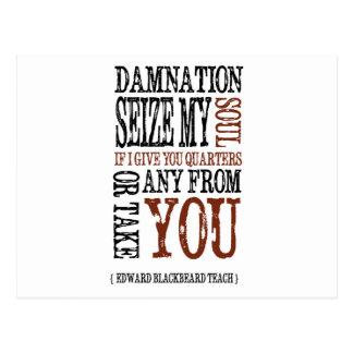"""Blackbeard Quote"" Postcard"
