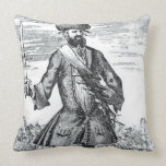Blackbeard the Pirate, from 'A General History of Throw Pillows