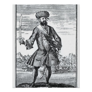 Blackbeard the Pirate, from 'A General History of Poster