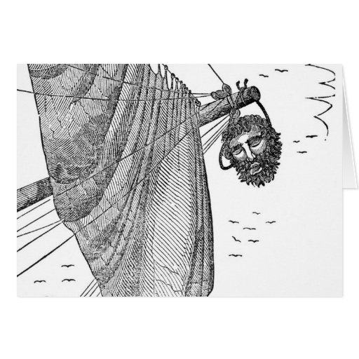 Blackbeard's Head Being hung from the Bow Card