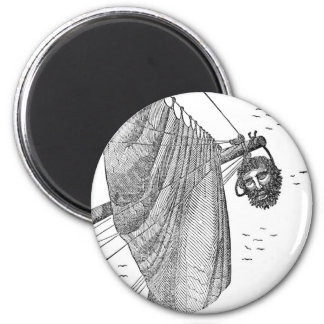 Blackbeard's Head Being hung from the Bow 2 Inch Round Magnet