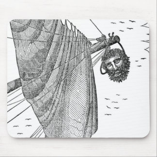 Blackbeard's Head Being hung from the Bow Mouse Pad