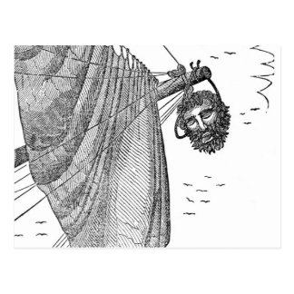 Blackbeard's Head Being hung from the Bow Postcard