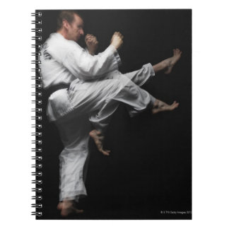Blackbelt Doing a Front Kick Notebook