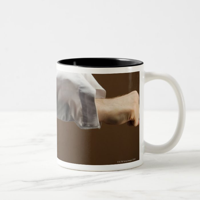 Blackbelt Doing Front Punch Two-Tone Coffee Mug