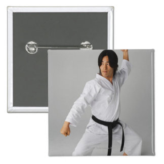 Blackbelt In An At Ready Stance Buttons