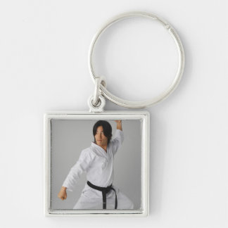 Blackbelt In An At Ready Stance Key Chain