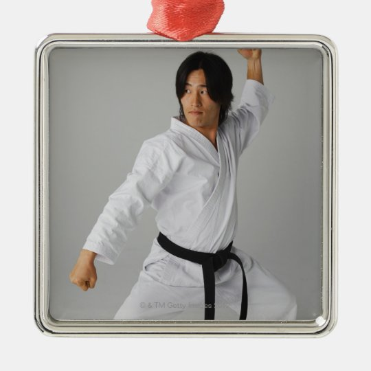 Blackbelt In An At Ready Stance Metal Ornament