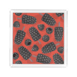 Blackberry and blackberry ice cream pattern acrylic tray