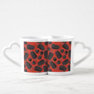 Blackberry and blackberry ice cream pattern coffee mug set