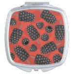 Blackberry and blackberry ice cream pattern compact mirror