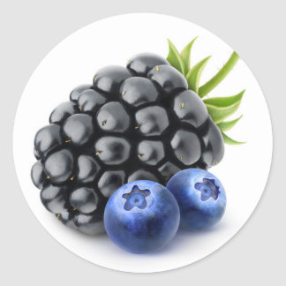 Blackberry and blueberries classic round sticker