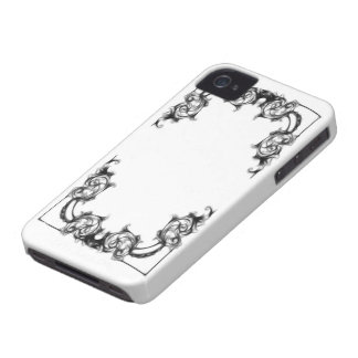 Blackberry bold case-VINTAGE FLORAL BLACK AND WHIT iPhone 4 Case